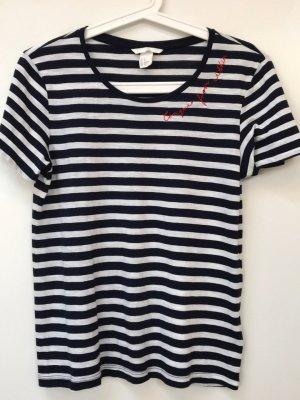 Marine T-Shirt, dunkelblau-weiß gestreift, XS, 32/34, 45% Modal, 55% Baumwolle, neu, nie getragen
