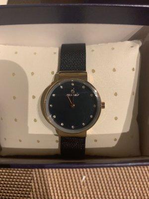 Horloge met metalen riempje donkerblauw-goud