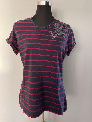 Bexleys T-shirt donkerrood-donkerblauw Katoen