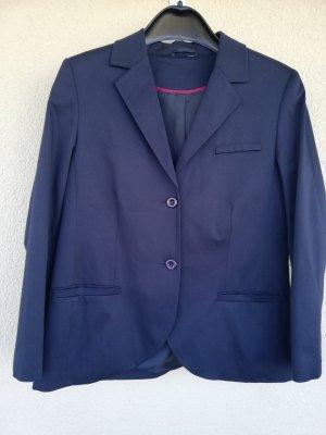 Marineblauer klassischer Blazer aus leicht elastischem Popeline aus Baumwolle