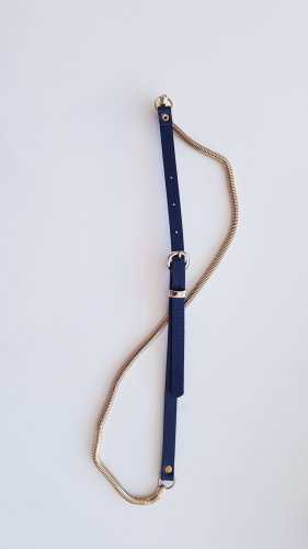 Promod Faux Leather Belt gold-colored-dark blue