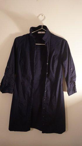Mango Vestido tipo blusón azul oscuro Algodón