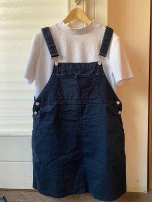 Pinafore skirt dark blue polyester