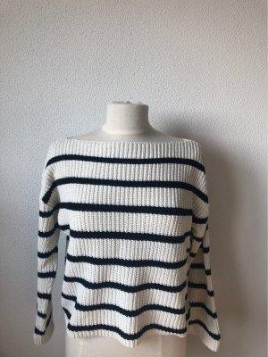 H&M Grof gebreide trui wit-donkerblauw