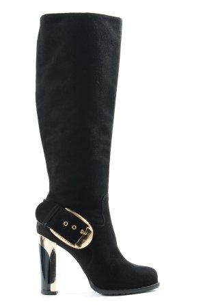 Marino Fabiani High Heel Stiefel schwarz-goldfarben extravaganter Stil