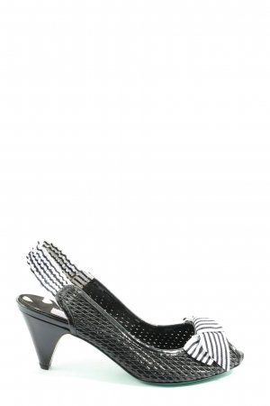 Mario Bologna Slingback-Pumps schwarz-weiß Streifenmuster Casual-Look