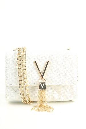 Mario Valentino Umhängetasche weiß-goldfarben Steppmuster Business-Look