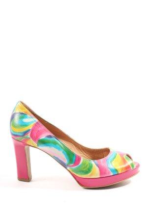 Maripé Peeptoe Pumps pink-grün abstraktes Muster Business-Look