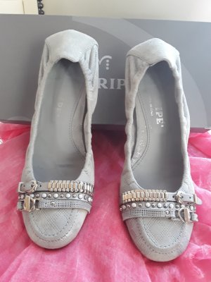 Maripé Foldable Ballet Flats silver-colored-light grey leather