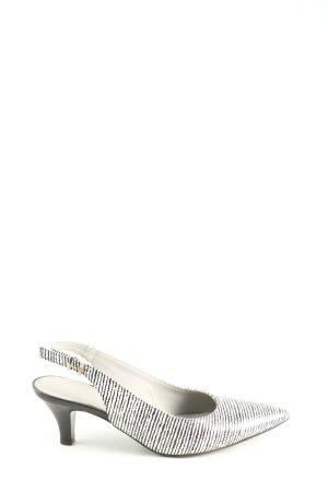 Maripé Spitz-Pumps weiß-schwarz Streifenmuster Business-Look