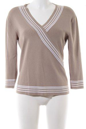 Mariposa V-Ausschnitt-Pullover braun-weiß Streifenmuster Casual-Look