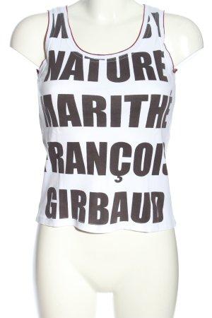 Marithé + Francois Girbaud A-Linien Top weiß-hellgrau Schriftzug gedruckt