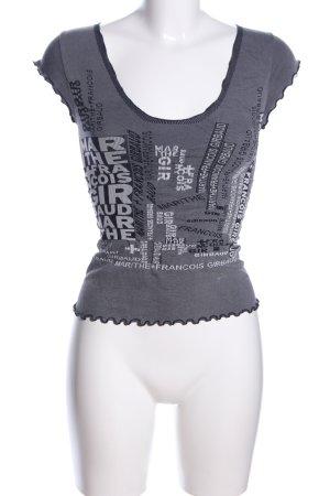 Marithé + Francois Girbaud T-shirt rayé gris clair lettrage imprimé