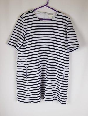 Maritim Minikleid Streifen H&M Basic Größe L 42 44 Jersey Weiß Dunkelblau Kleid Shirt Sweat Kurzarm Rundhals Taschen