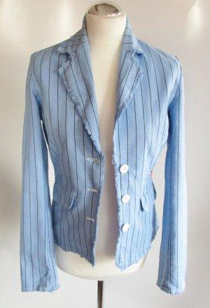 Maritim Streifen Blazer Only Größe S 36 Hellblau Schwarz Nadelstreifen Mafiosi Canvas Baumwolle Fransen Blau Ramie Sommer Jacke