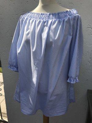 Mona Carmen blouse wit-azuur