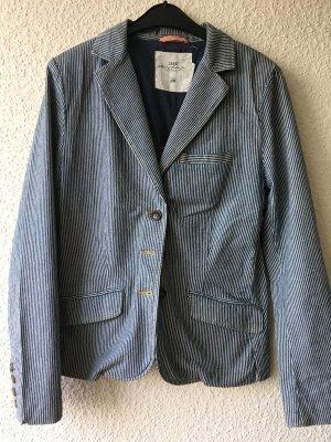 H&M Blazer en jean bleu foncé-blanc coton