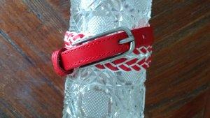 Mango Cinturón trenzado blanco-rojo