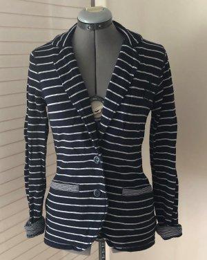 maritimer Jersey-Blazer, gestreifte Jacke von Esprit, M/ 38, dunkelblau, weiß