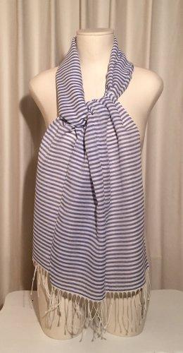 Écharpe à franges blanc-bleu coton
