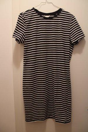 H&M Vestido estilo camisa azul oscuro-blanco