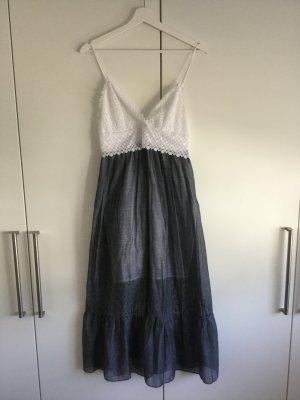 Sandro Paris Vestido bustier gris pizarra-blanco tejido mezclado