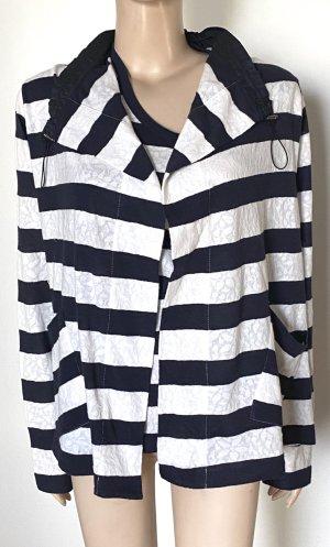 Riani Twin set in jersey blu scuro-bianco sporco