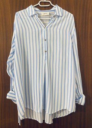 Cartoon Long Sleeve Blouse white-azure cotton