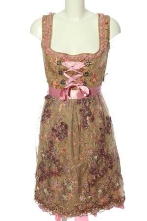 MarJo Dirndl bruin-roze volledige print elegant