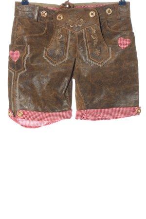 MarJo Pantalon bavarois brun-rouge motif à carreaux élégant