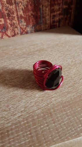 keine Marke Statement ring magenta-zwart