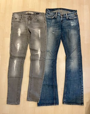 Marken Bekleidungspaket 2 Jeans Meltin Pot Zara 25/34 und 34 XS grau blau destroyed Schlag Skinny