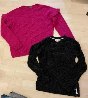 Marken Bekleidungspaket 2 Pullover XS/S Strick H&M Yessica C&A pink grau Pullis