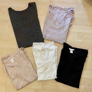 Marken Bekleidungspaket 5 Shirts Tops H&M Zara S/M 36/38 rosa weiß anthrazit grau flieder