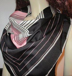 Markentuch XXL Tuch Schal Halstuch COLETTE schwarz weiß grau rosa Muster ca.86x86cmQuadrate Streifen Markenplombe