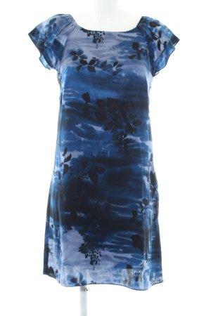 Marks & Spencer (Autograph) Kurzarmkleid blau-schwarz abstraktes Muster