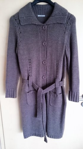 Marks & Spencer Płaszcz z dzianiny szaro-brązowy