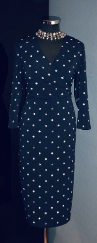 Marks and Spencer Vestido cruzado blanco-azul oscuro