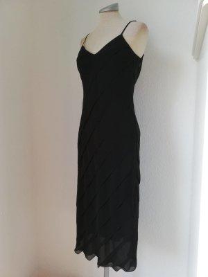 Marks & Spencer Kleid knielang neu schwarz Gr. UK 8 36 S Chiffon Trägerkleid Midikleid