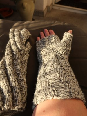 Fingerless Gloves multicolored wool
