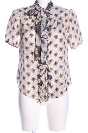 Marlene Birger Short Sleeved Blouse cream-light grey allover print elegant