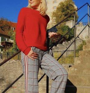 Spodnie Marlena srebrny-czerwony