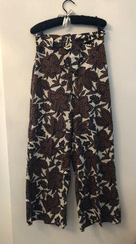 Zara Pantalon Marlene blanc-brun