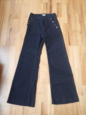 H&M Jeans large doré-bleu foncé