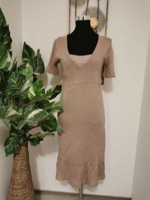 Marmalade Knit by Noa Noa Damen Feinstrick Kleid mit Unterkleid Taupe Größe M