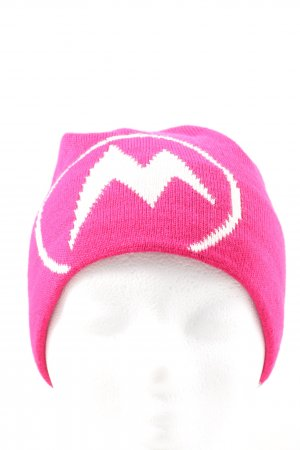 Marmot Knitted Hat pink-white printed lettering casual look