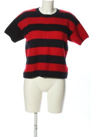 Marni at H&M Kurzarmpullover schwarz-rot Streifenmuster Casual-Look