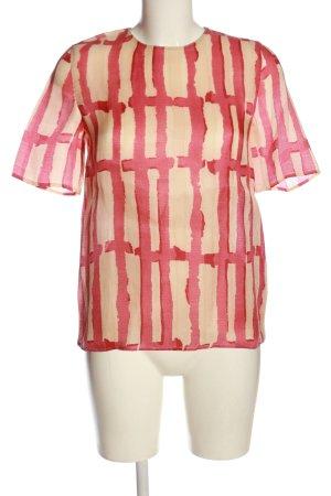 Marni Camicetta a maniche corte crema-rosa stampa integrale stile casual