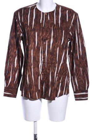 Marni Langarm-Bluse bronzefarben-weiß Allover-Druck Casual-Look