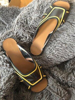 Marni Leder Sandalen flats transparent  slipper Schlappen mules open toe
